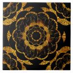 Negro de oro y oro de la flor de la mandala del azulejos cerámicos