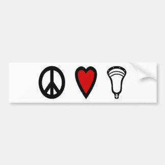 Negro de PeaceLoveLacrosse de los diseños de LaCro Pegatina De Parachoque