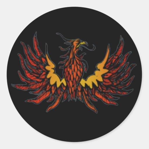 Negro de Phoenix Pegatina Redonda