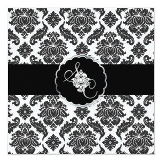 "Negro de PixDezines+Damasco blanco de Venezia Invitación 5.25"" X 5.25"""