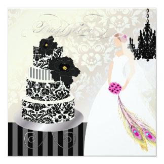 """Negro de PixDezines+Pastel de bodas blanco Invitación 5.25"""" X 5.25"""""""