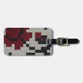 Negro de Pixelated blanco rojo Etiquetas Maleta