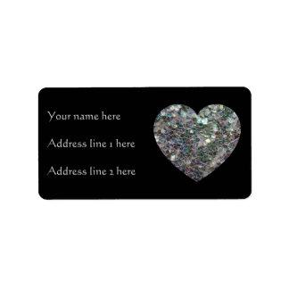 Negro de plata brillante adaptable del corazón el etiqueta de dirección