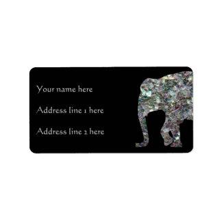 Negro de plata colorido brillante del elefante el etiquetas de dirección