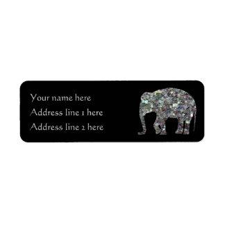 Negro de plata colorido brillante del elefante el etiquetas de remite