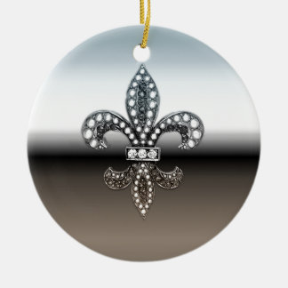 Negro de plata de Flor New Orleans de la flor de Adorno Redondo De Cerámica
