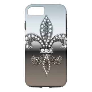 Negro de plata de Flor New Orleans de la flor de Funda iPhone 7