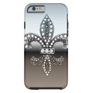 Negro de plata de Flor New Orleans de la flor de Funda Para iPhone 6 Tough