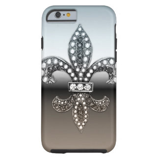 Negro de plata de Flor New Orleans de la flor de Funda Resistente iPhone 6