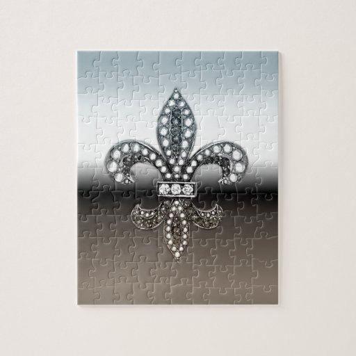 Negro de plata de Flor New Orleans de la flor de l Puzzle