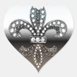 Negro de plata de Flor New Orleans de la flor de Pegatinas De Corazon Personalizadas