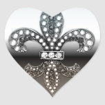 Negro de plata de Flor New Orleans de la flor de Pegatina En Forma De Corazón