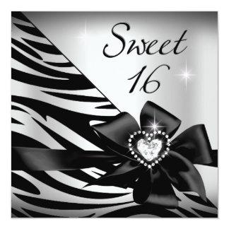 "Negro de plata de la cebra del dulce 16 del dulce invitación 5.25"" x 5.25"""
