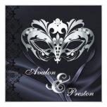 Negro de plata de la mascarada Jeweled casando la Invitación Personalizada