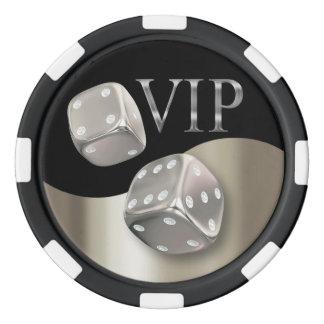 Negro de plata de Las Vegas de los dados del Juego De Fichas De Póquer
