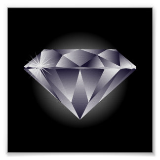 negro de plata del diamante 1307552490_Vector_Clip Póster