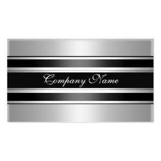 Negro de plata elegante del metal del cromo tarjetas de negocios