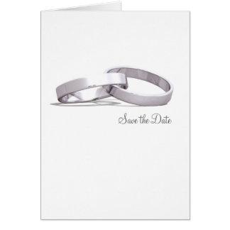 Negro de plata entrelazado de los anillos - ahorre tarjeta pequeña