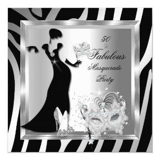 """Negro de plata fabuloso de 50 cebras del fiesta de invitación 5.25"""" x 5.25"""""""