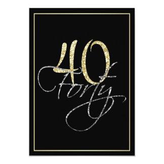 """Negro de plata formal y 40.a fiesta de cumpleaños invitación 5"""" x 7"""""""