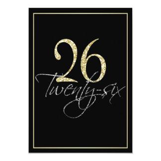 """Negro de plata formal y vigésima sexta fiesta de invitación 5"""" x 7"""""""