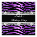 Negro de plata púrpura del diamante de la cebra de invitaciones personalizada