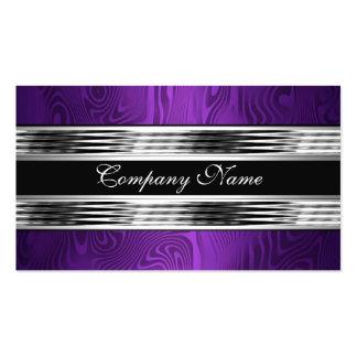 Negro de plata púrpura elegante 2 tarjetas de negocios