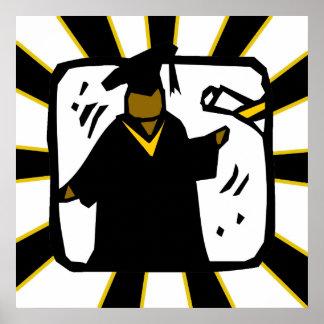 Negro de recepción graduado y oro del diploma (1) póster