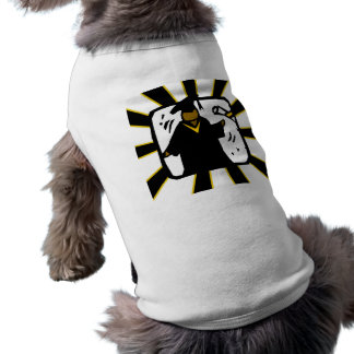 Negro de recepción graduado y oro del diploma 1 camisetas de perro