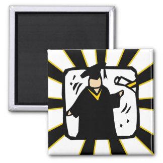 Negro de recepción graduado y oro del diploma (2) imanes para frigoríficos