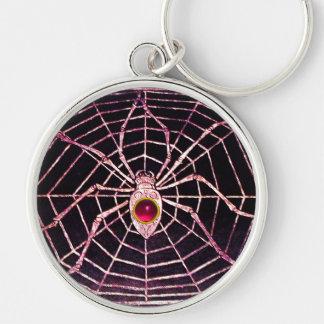 Negro de rubíes fucsia rosado de la ARAÑA Y del WE Llaveros Personalizados