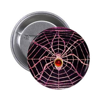Negro de rubíes rojo de la ARAÑA Y del WEB Pin Redondo 5 Cm