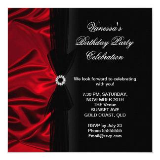 """Negro de seda de color rojo oscuro elegante de la invitación 5.25"""" x 5.25"""""""