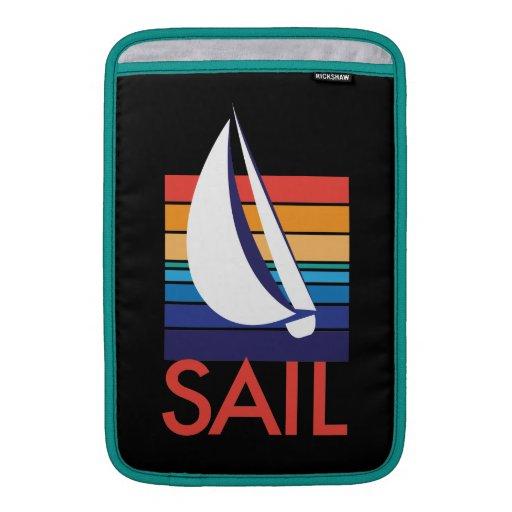 Negro de Square_Sail_on del color del barco Fundas Para Macbook Air
