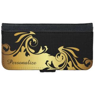 Negro de Swirly y diseño floridos del oro Funda Cartera Para iPhone 6