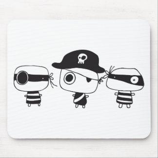 Negro de tres piratas tapete de ratones