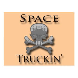 Negro de Truckin del espacio Tarjetas Postales