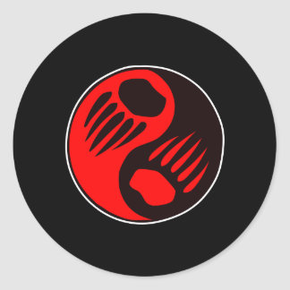 Negro de Yin Yang de la garra de oso Etiqueta Redonda