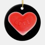 "Negro del amor ornamento de ""su texto"" redondo"