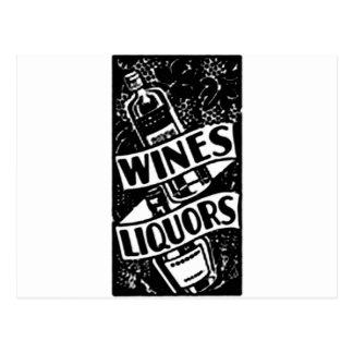 Negro del anuncio de los vinos y de los licores postales