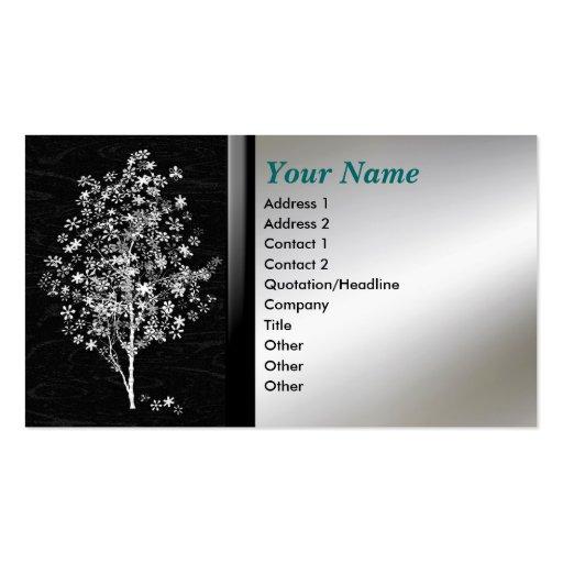 Negro del árbol de la flor y tarjetas de visita co