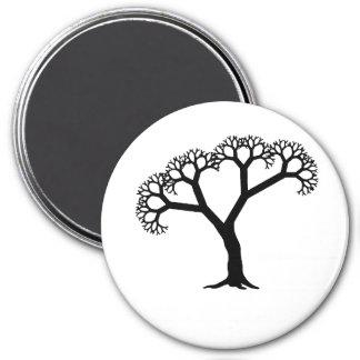 Negro del árbol del fractal imán redondo 7 cm