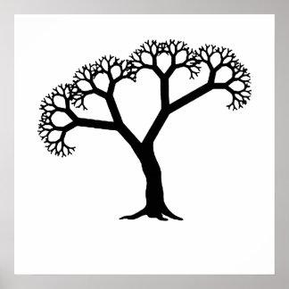 Negro del árbol del fractal impresiones