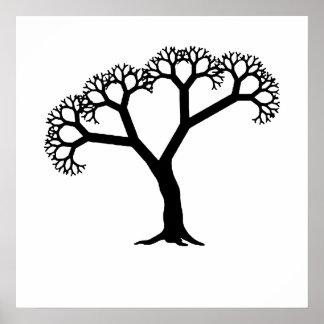 Negro del árbol del fractal póster