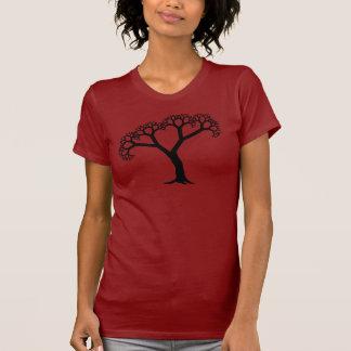 Negro del árbol del fractal remera