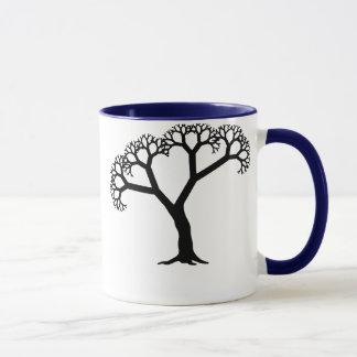 Negro del árbol del fractal taza