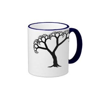 Negro del árbol del fractal taza de café