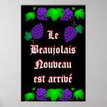 Negro del arrivé de Le Beaujolais Nouveau est Posters