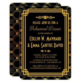 """Negro del art déco y cena del ensayo del oro invitación 3.5"""" x 5"""""""