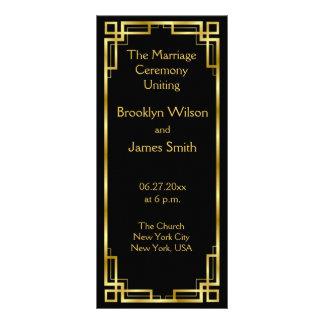 Negro del art déco y tarjetas de programa del boda plantilla de lona